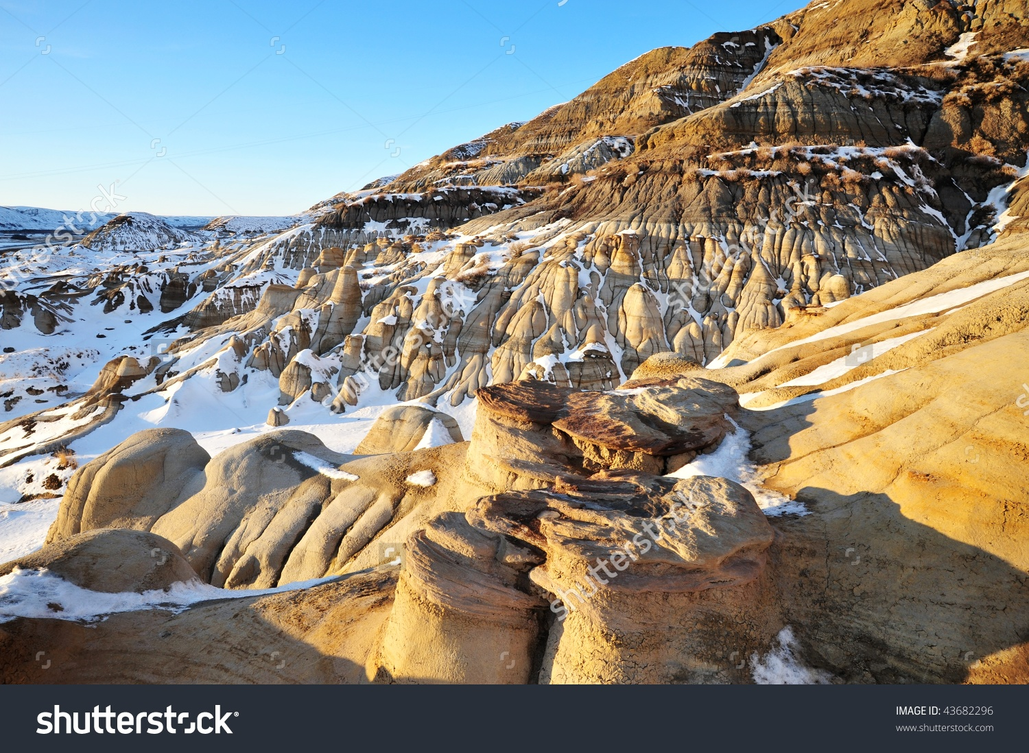 Winter View Hoodoos Badlands Sunset Moment Stock Photo 43682296.