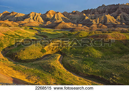 Stock Image of The area called yellow mounds lit by the sunset in.