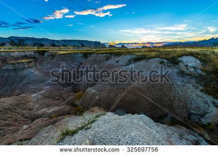 Badlands at sunset clipart #8