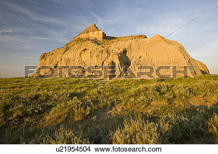 Stock Photo of Castle Butte during sunset in the Big Muddy.