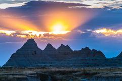 Sunset Over The Badlands Of South Dakota Royalty Free Stock Photo.