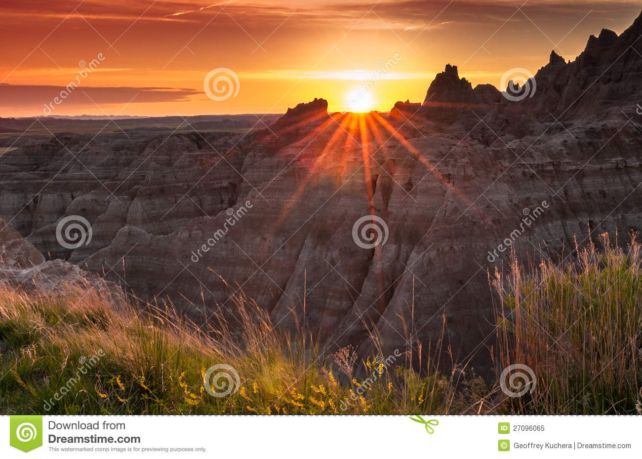 Sunset Over The Badlands Of South Dakota Royalty Free Stock Photo.