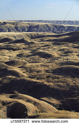 Stock Photography of Badlands and coulees along the South.