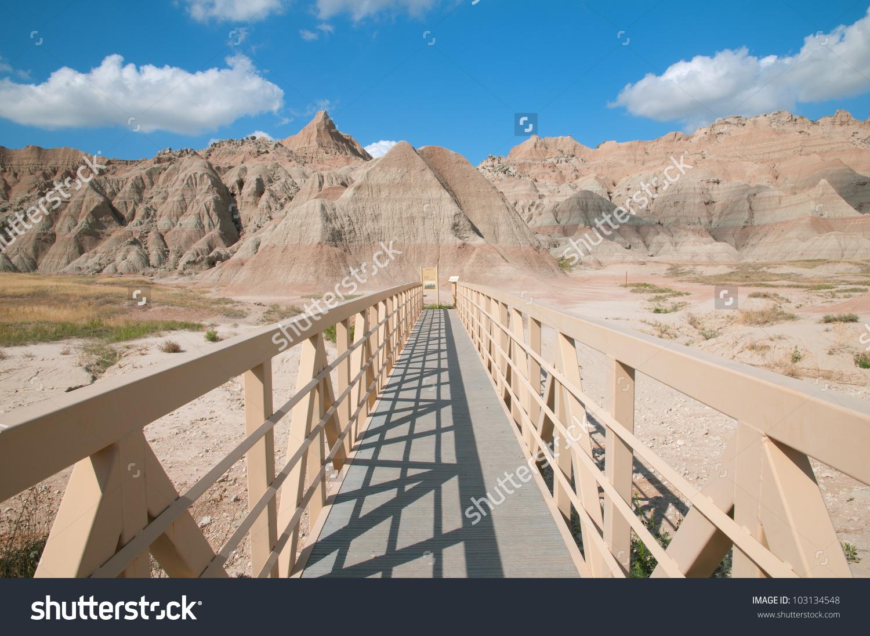 Beginning Saddle Pass Trail Badlands National Stock Photo.