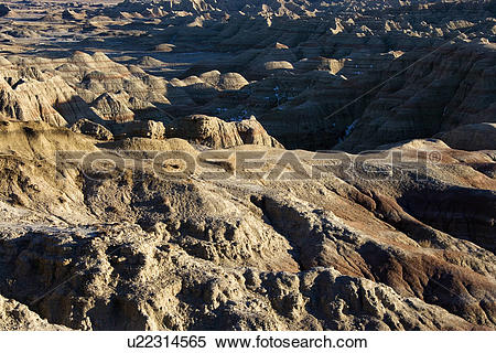 Stock Image of Overview of landscape in Badlands National Park.
