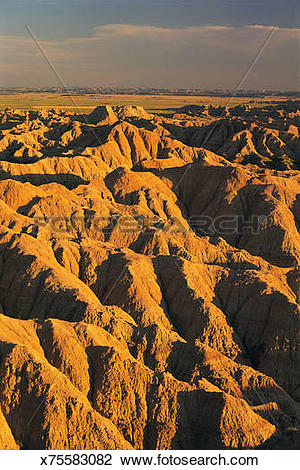 Stock Photo of Aerial view of Badlands National Park in South.