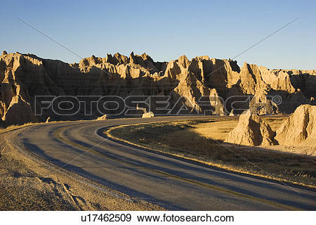 Stock Photograph of Scenic roadway in Badlands National Park.