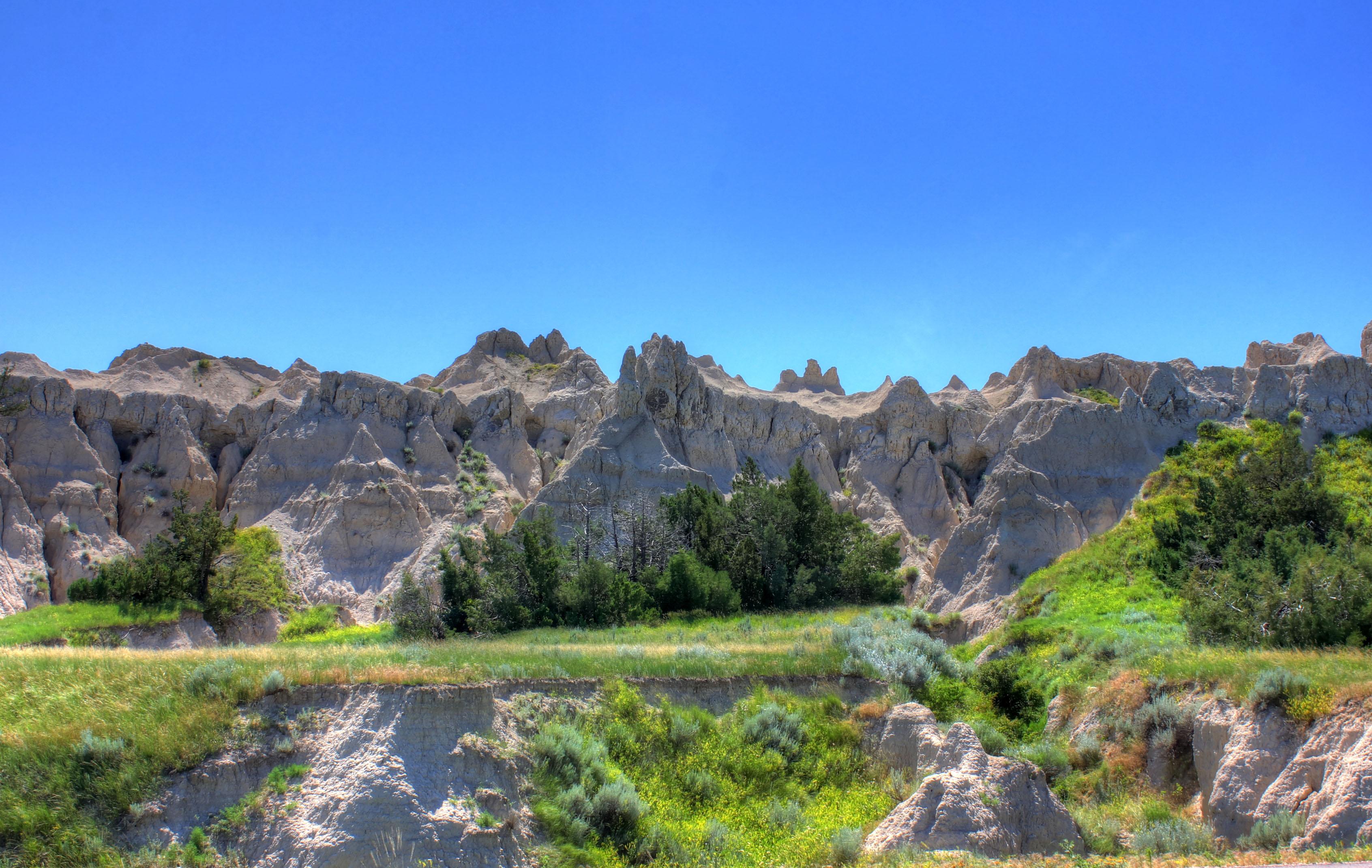 Hills by the roadside at Badlands National Park, South Dakota.