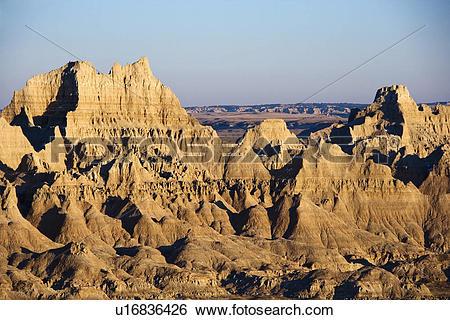 Stock Images of Landscape in Badlands National Park, South Dakota.