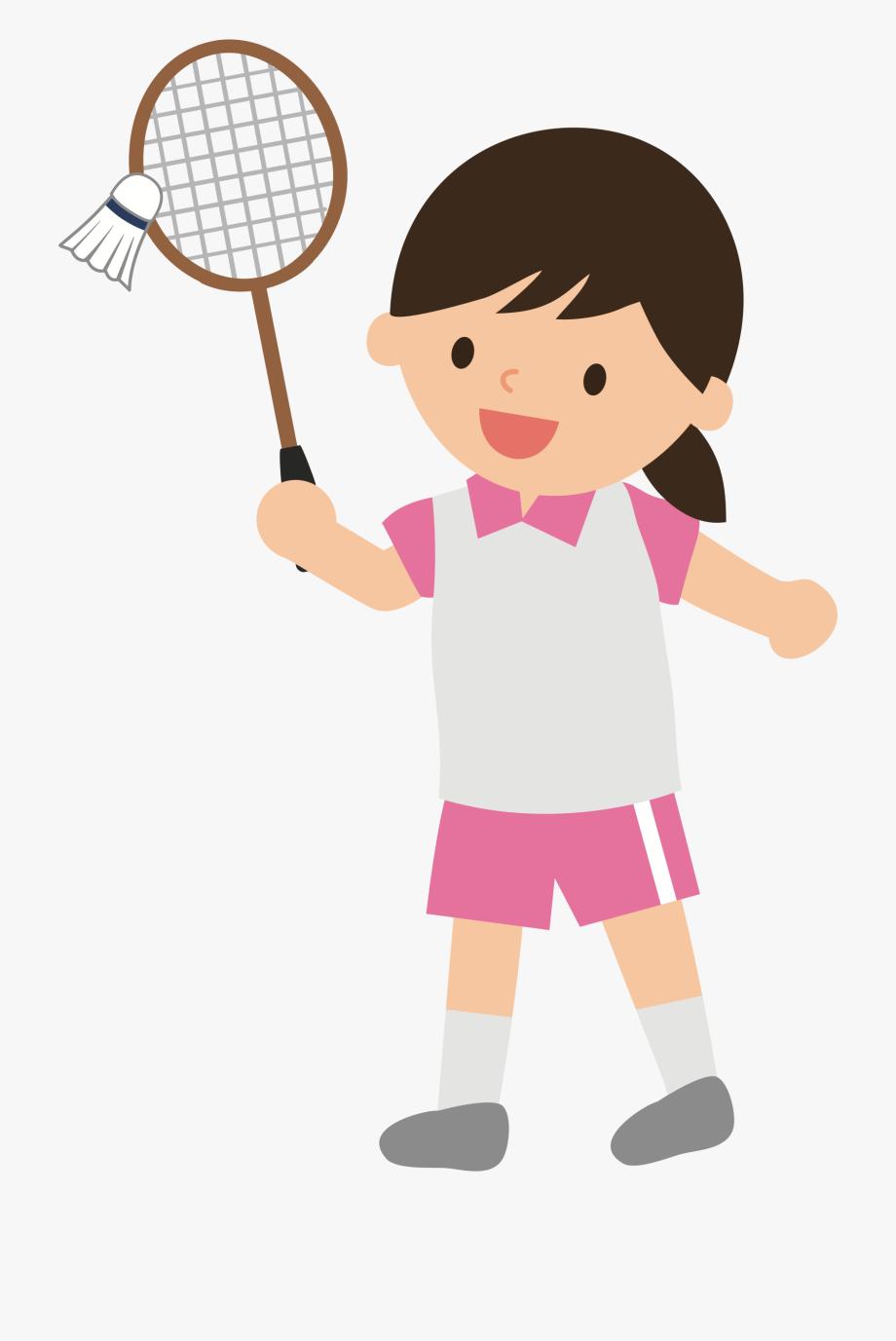 Girl Clipart Badminton.