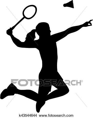 Silhouette of Badminton woman Clipart.