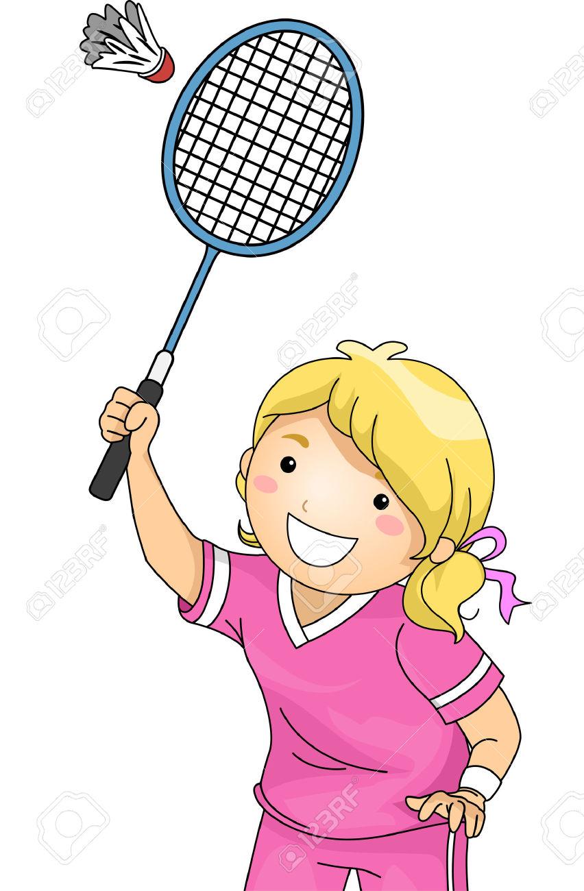 Playing Badminton Clipart Girl.