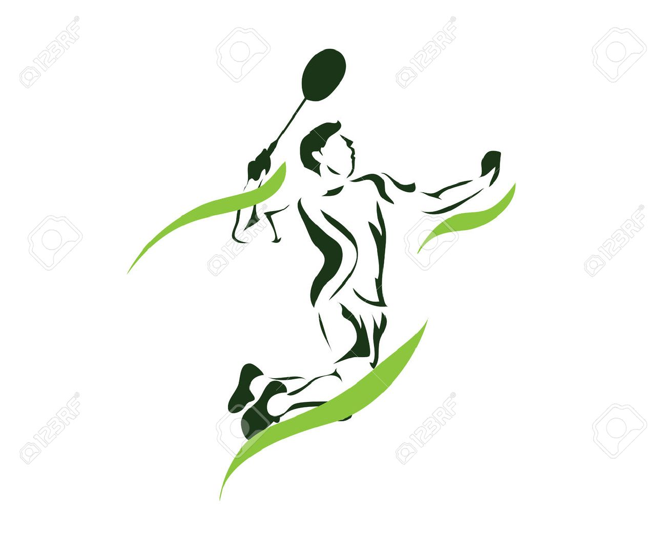 Modern Passionate Badminton Player In Action Logo.