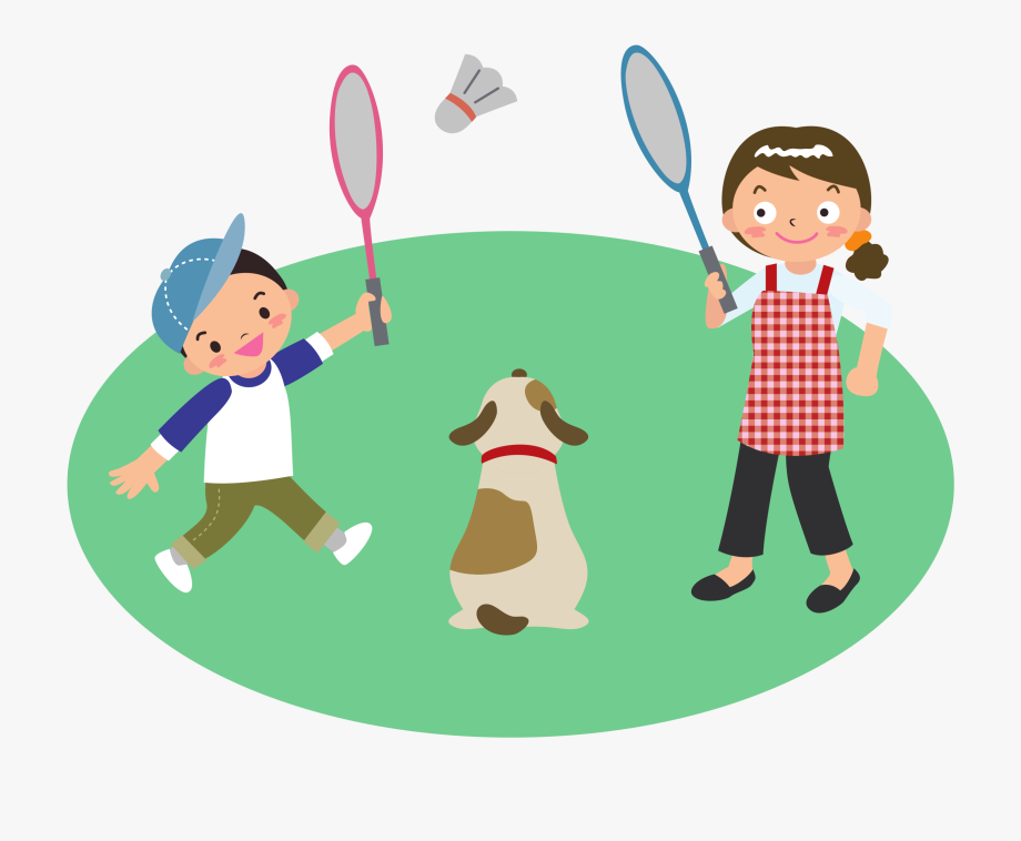 Mother Plays Badminton With Son And Dog Clipart Library.