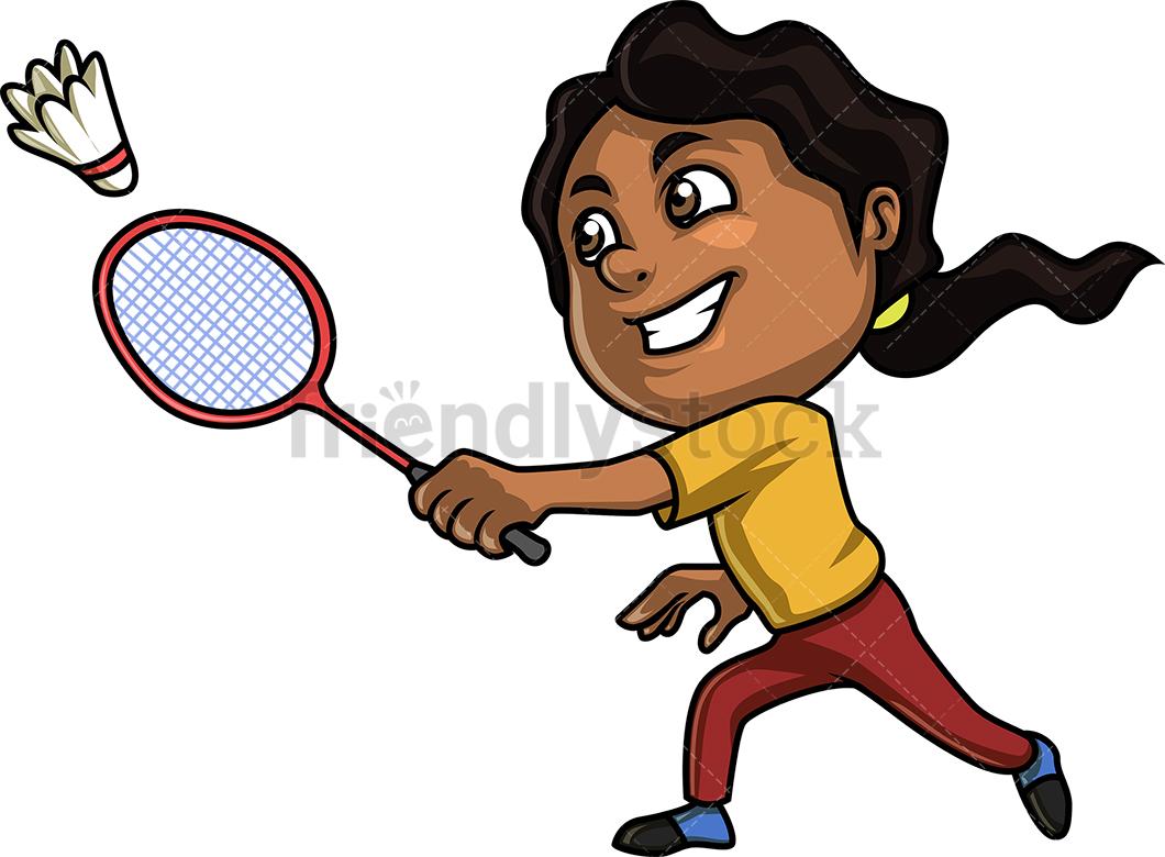 Black Girl Playing Badminton.