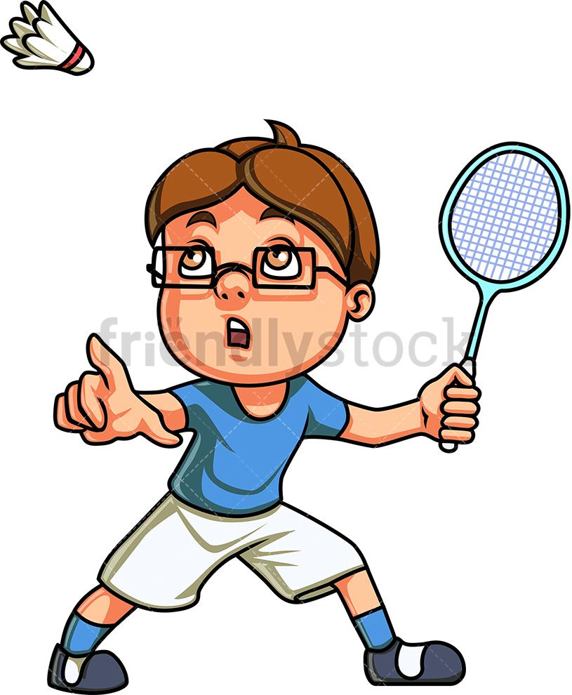 Little Boy Playing Badminton.