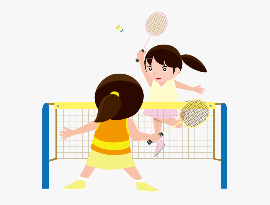 Kids Playing Badminton Clipart.