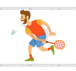 Badminton Player with Racket Hitting Shuttlecock.
