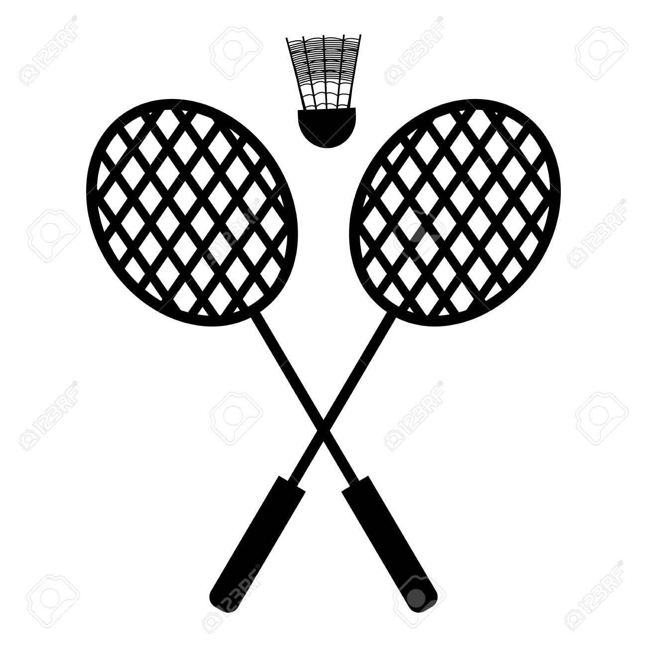 Playing badminton racket and shuttlecock silhouettes on a white...