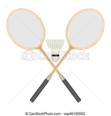 Two crossed badminton rackets and white shuttlecock with black line..