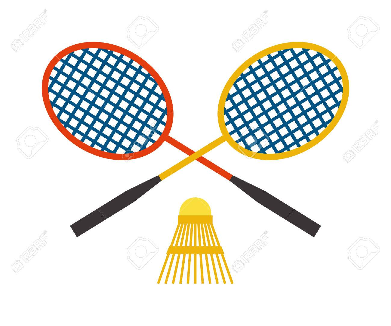 Two badminton racket and shuttlecock sport game leisure competition...