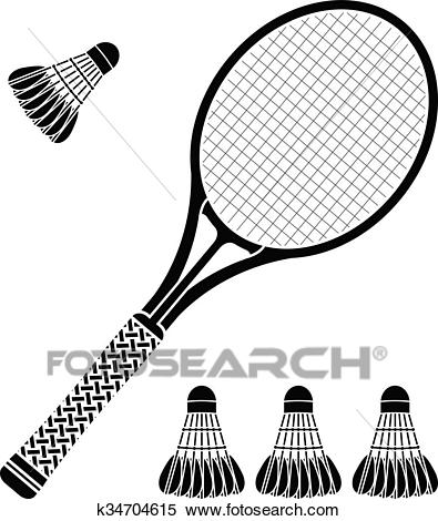 Stencil of racket and badminton shuttlecocks Clipart.