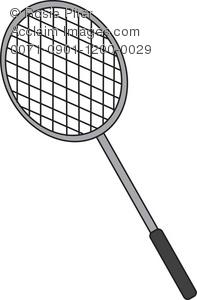 Clip Art Illustration of a Badminton Racket.
