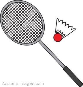Clip Art of a Badminton Racket and Birdie.