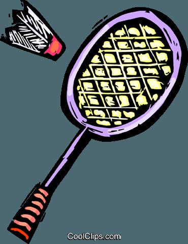 Badminton racket and birdie Royalty Free Vector Clip Art.