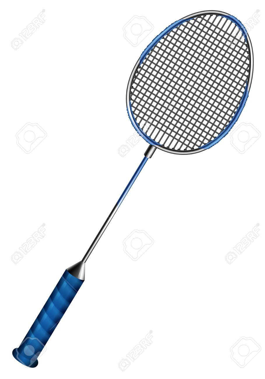 Blue badminton racket with net.