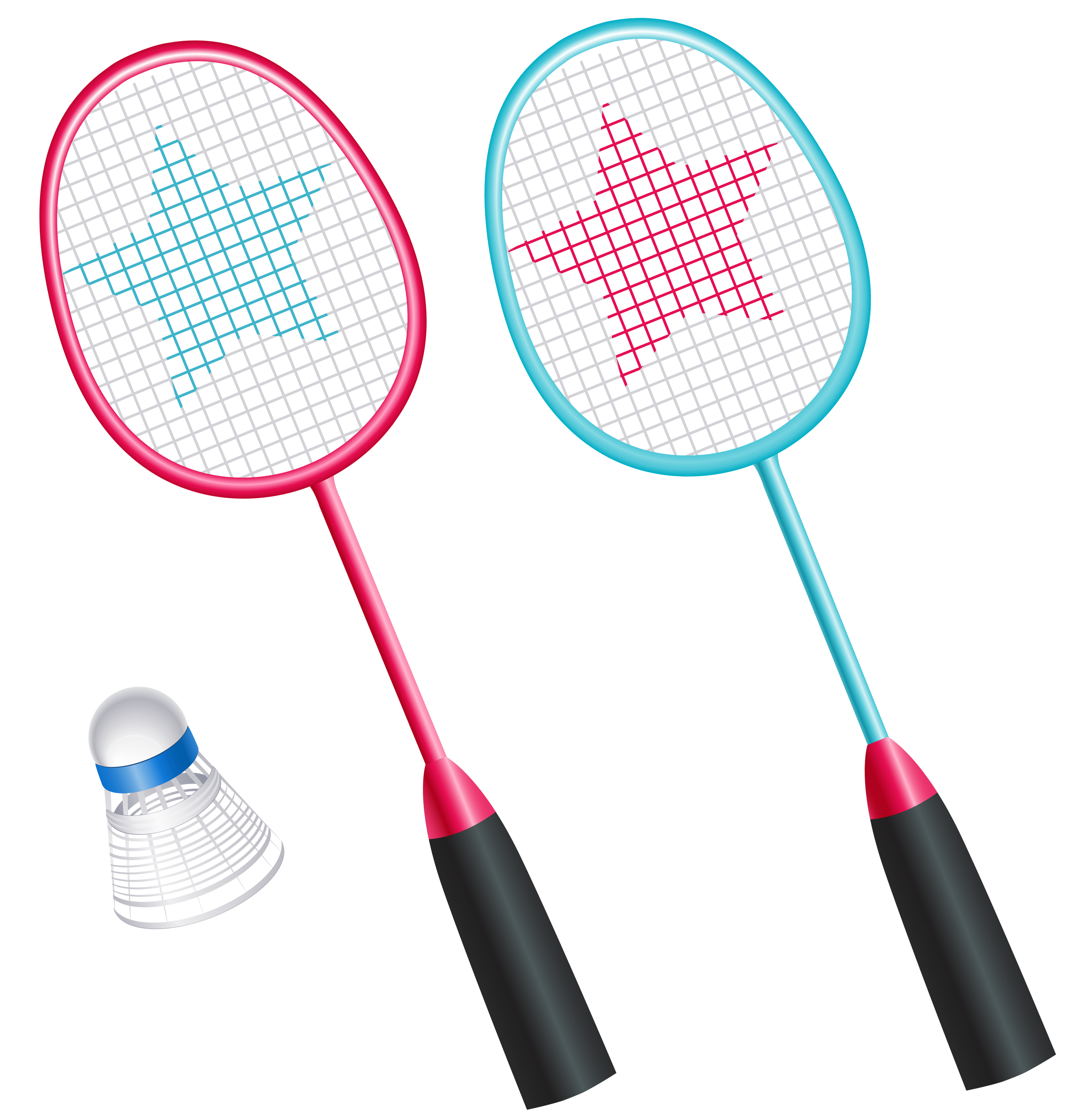 Badminton Rackets with Shuttlecock PNG Vector Clipart.