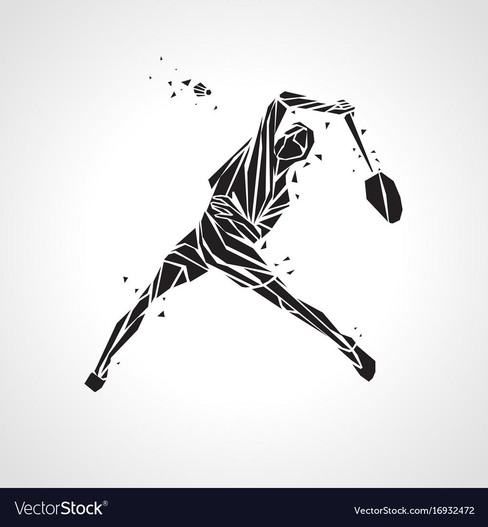 Creative silhouette of professional badminton.