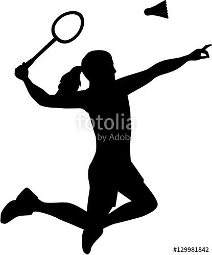 Silhouette of Badminton woman
