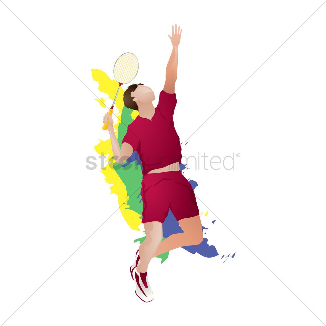 Badminton player in action Vector Image.
