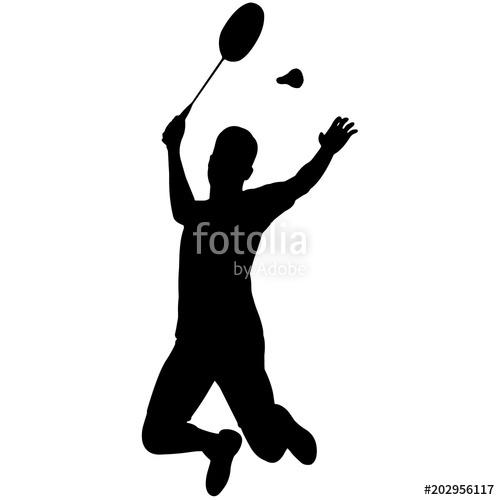 Man Badminton silhouette, Male Badminton clipart Boy Badminton.