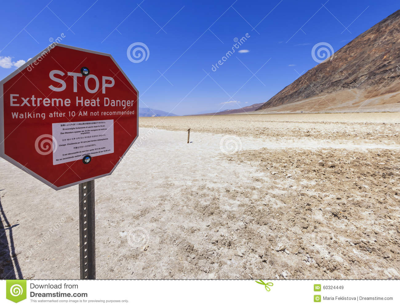 Stop Sign At Badwater Basin In Death Valley, USA Stock Photo.