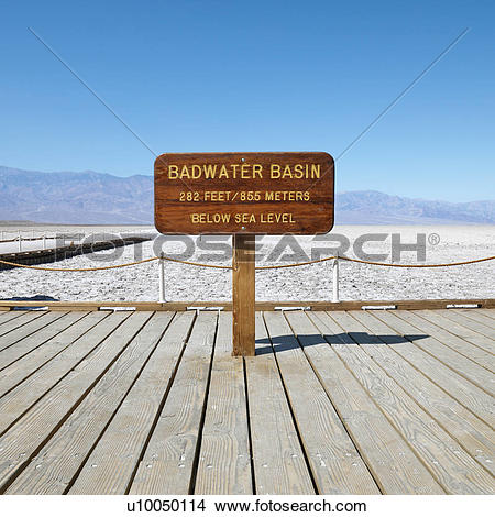 Stock Photo of Badwater Basin sign in Death Valley National Park.