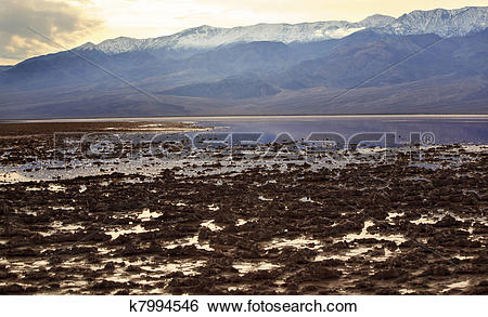Stock Images of Salt Badwater Basin Black Mountains Death Valley.