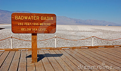 Badwater Basin Sign Stock Photo.