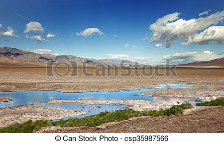 Stock Image of badwater basin in Death Valley national park.