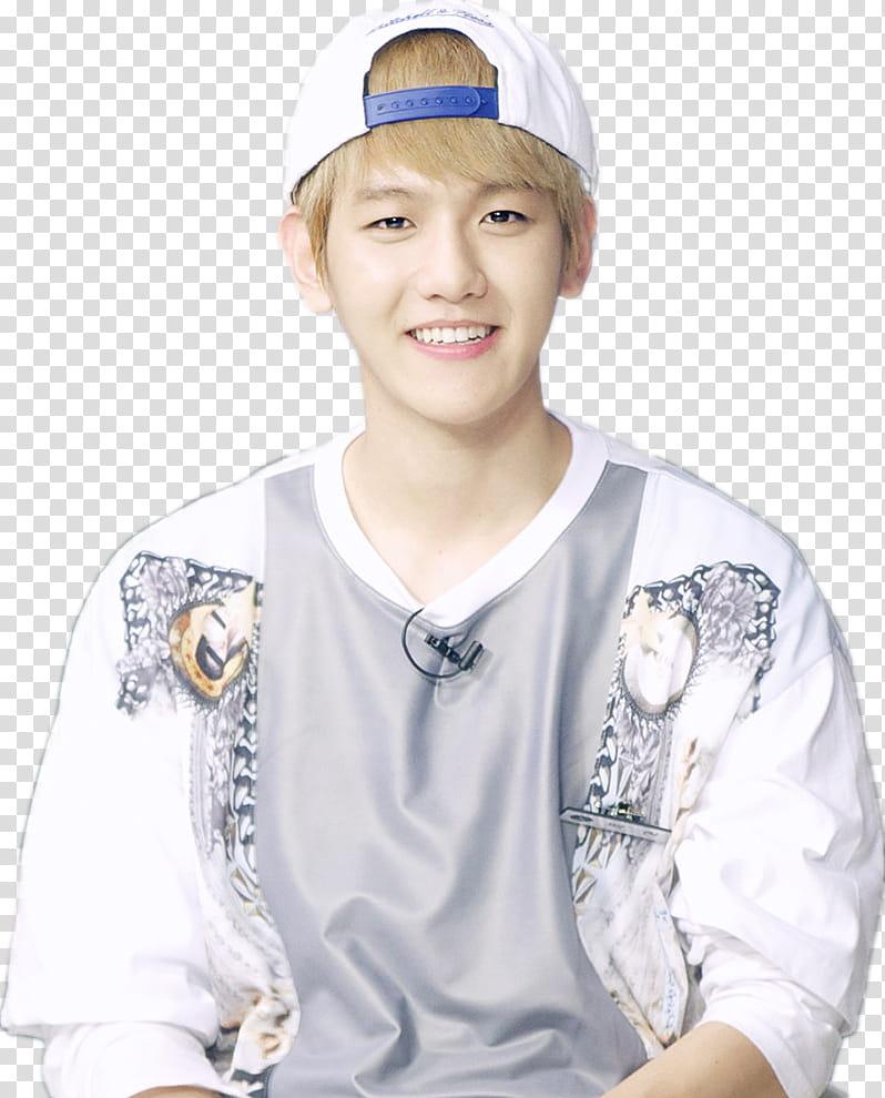 EXO Baekhyun, man in white cap smiling transparent.