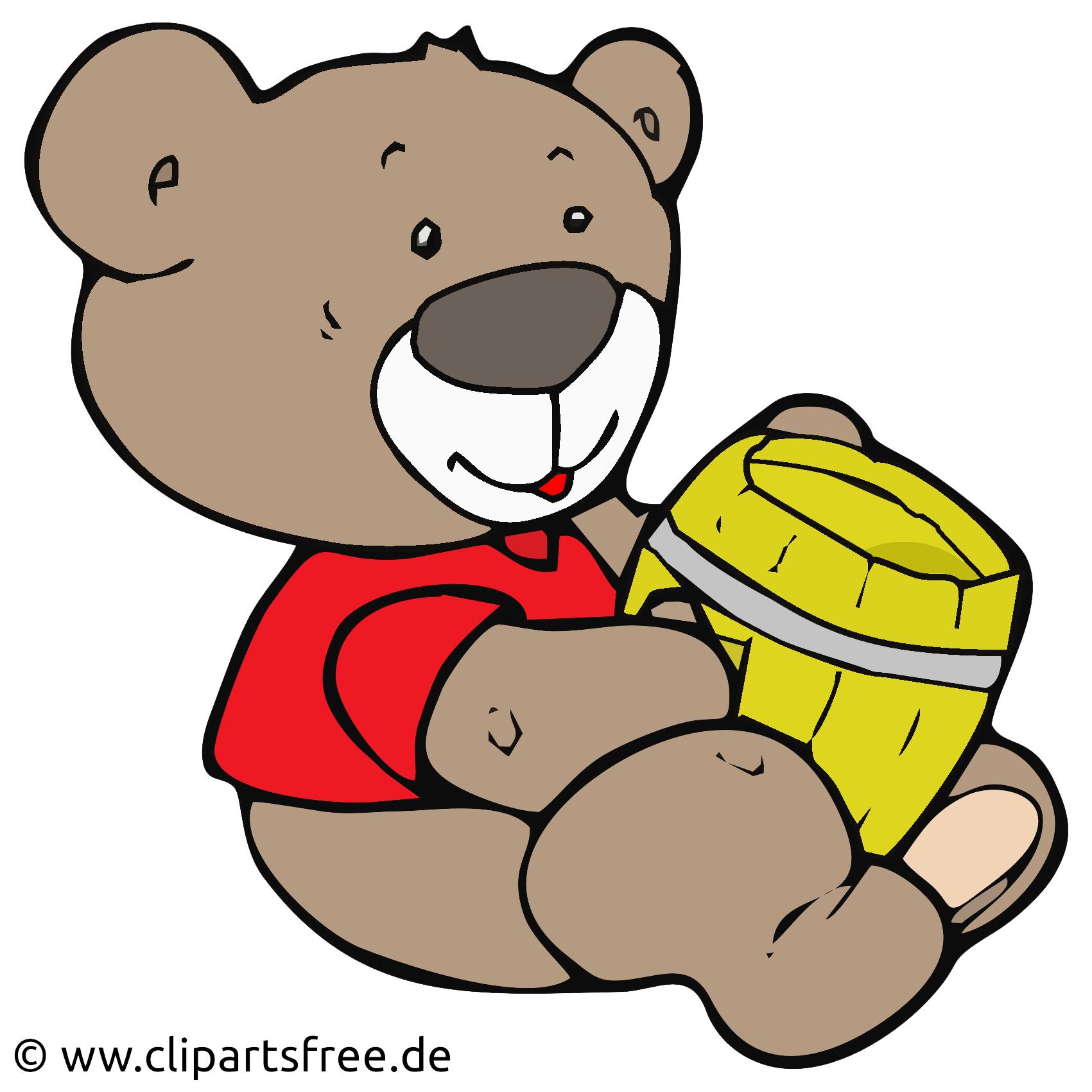 Baer mit Honig Clip Art, Cartoon, Illustration.