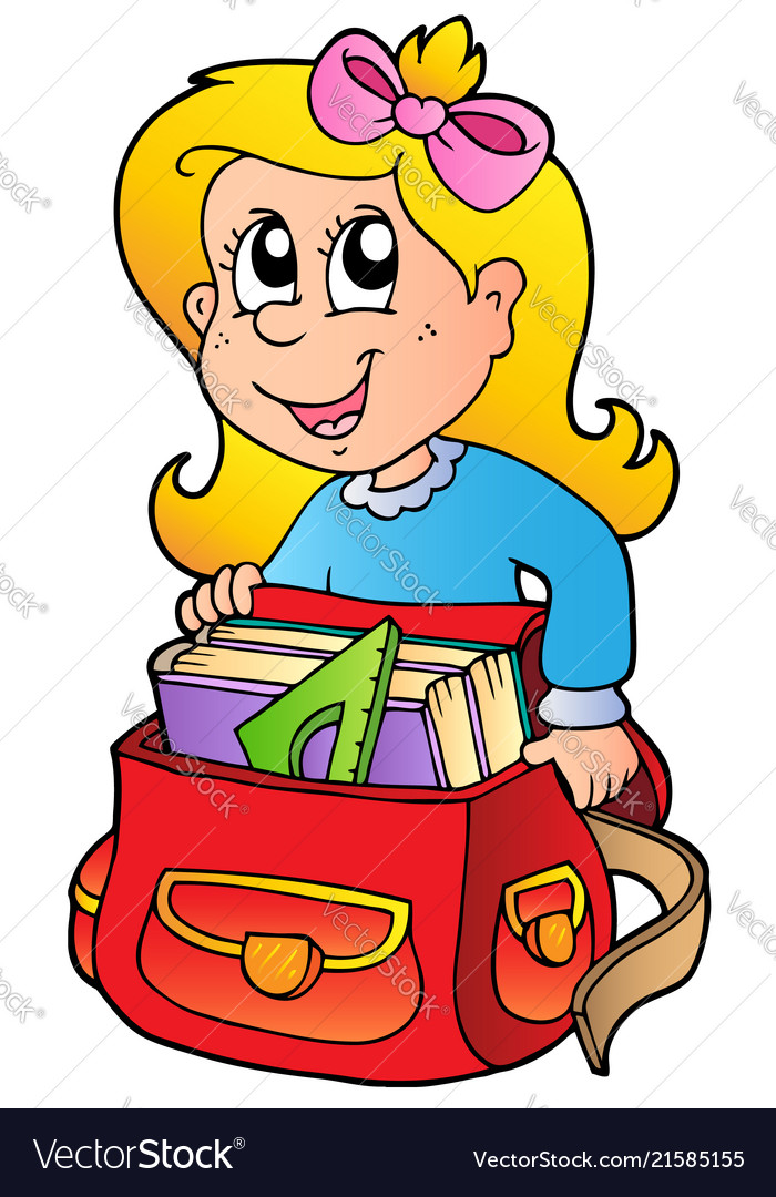 Cartoon girl with school bag.
