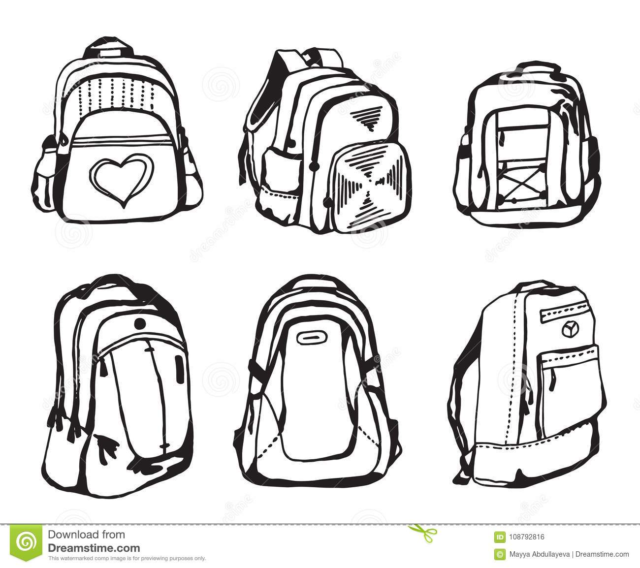 Clip Art Black And White School Bag.
