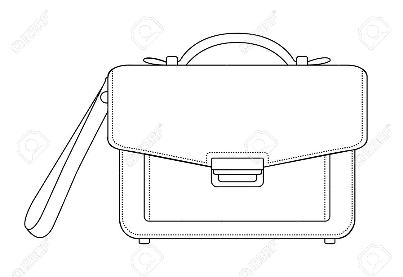 Businessman luxury leather brown hand bag. Vector clip art contour...