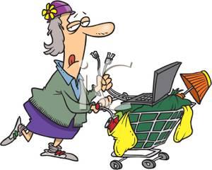Homeless Bag Lady Pushing Her Shopping Cart.