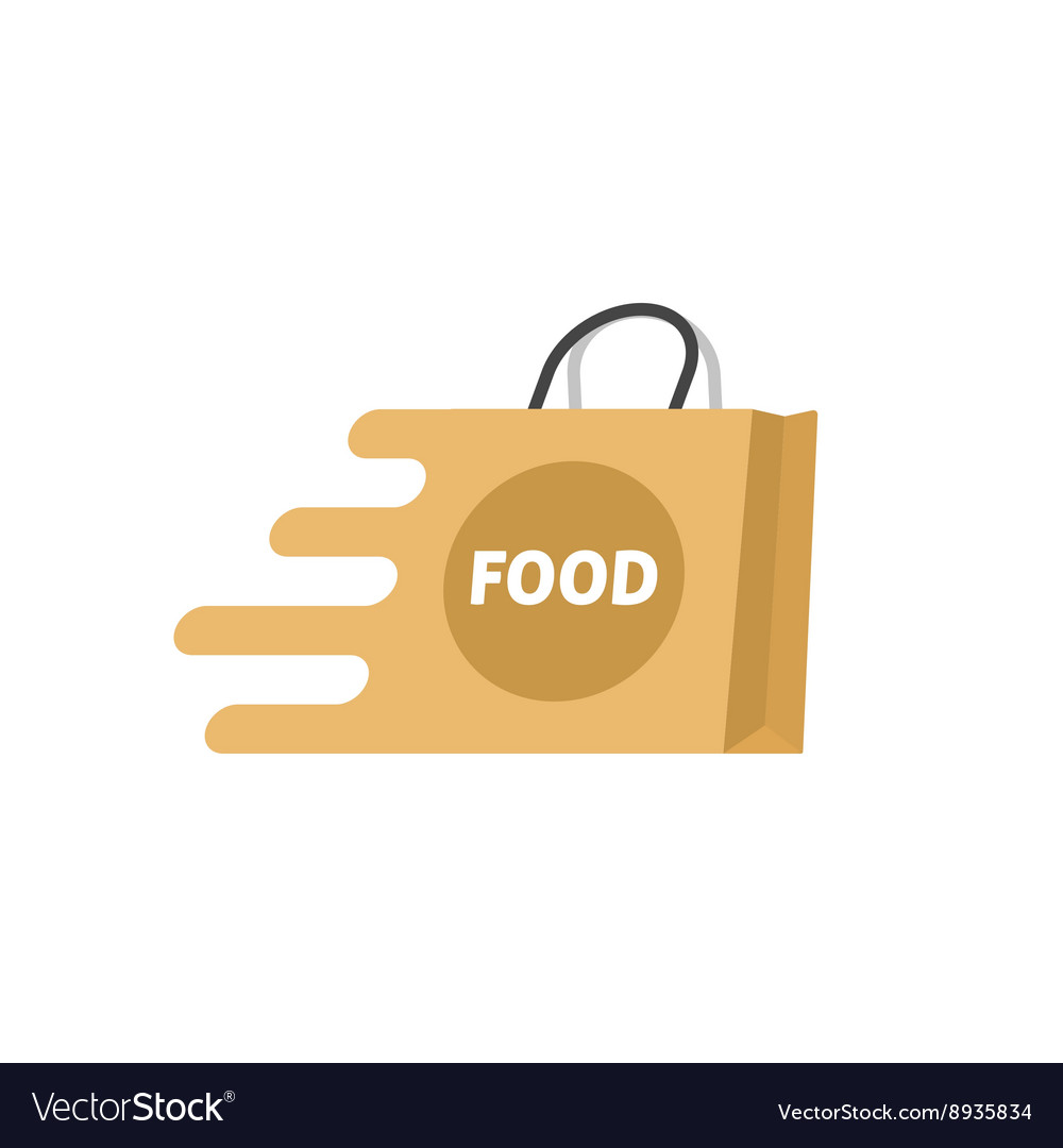 Food delivery logo isolated shopping bag.