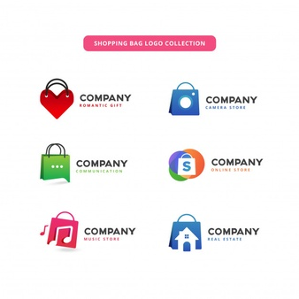 Shopping bag logo collection Vector.