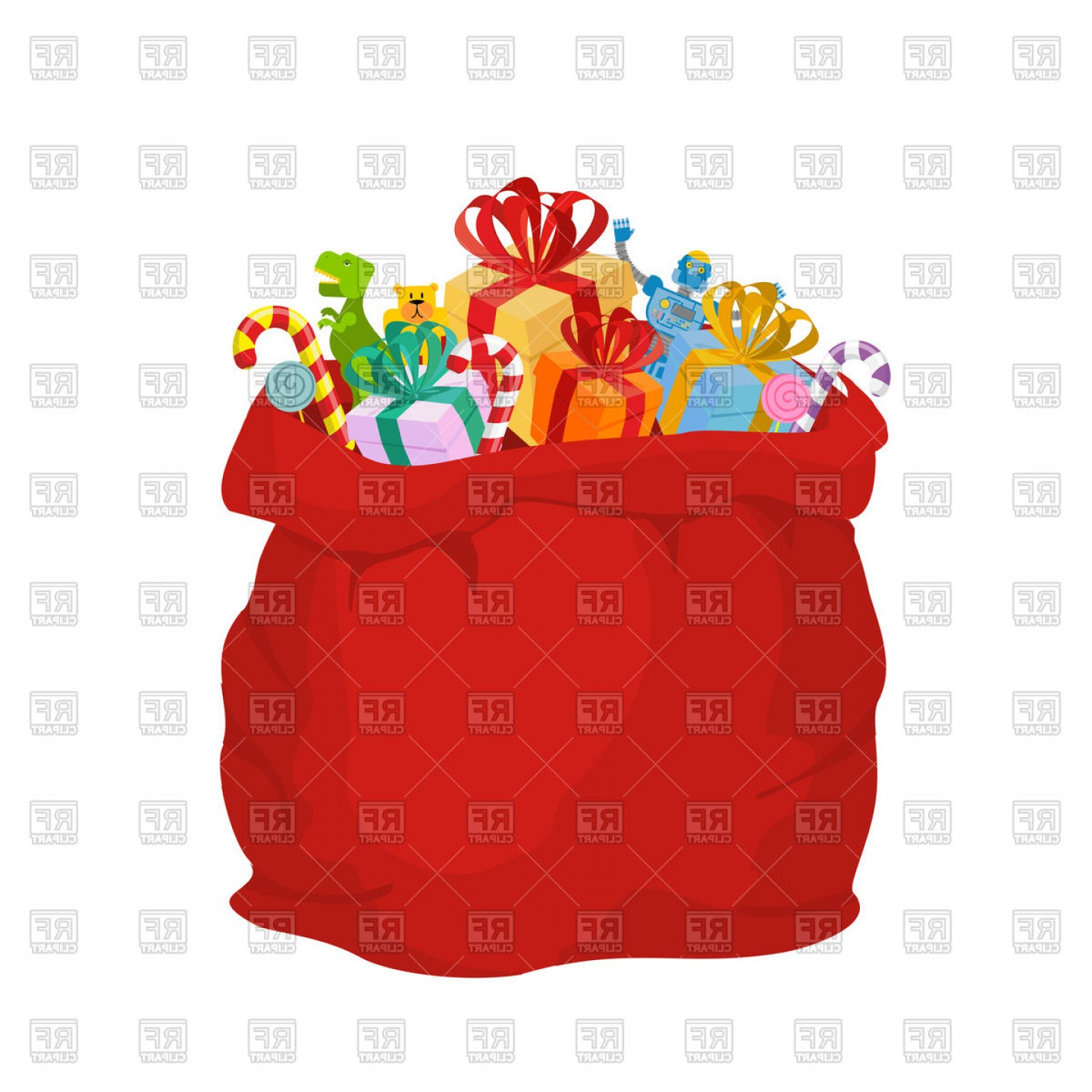 Big Red Christmas Bag With Gifts Vector Clipart.