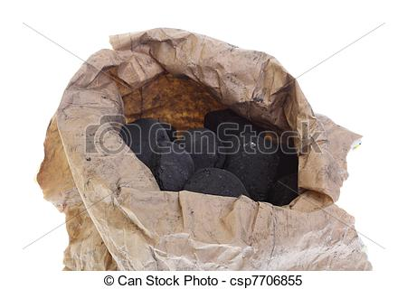 Stock Images of sack, bag isolated coal, carbon nuggets.